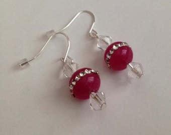 Fuschia Agate Bead Earrings, Fuschia Earrings, Agate Earrings, Fuschia Jewelry, Ships From USA
