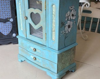 Wooden Vintage Jewelry Box / Painted Shabby Chic Jewelry Armoire / OOAK Designer Jewelry Box / Upcycled Women's Jewelry Box
