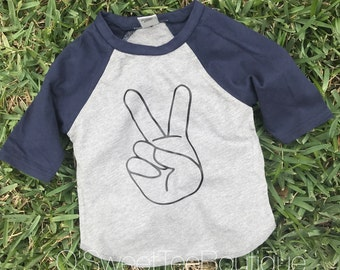 TWO/ Peace Sign Tee / Boys Second Birthday Shirt/ Turning 2/ Boy Birthday/ Second Birthday/ Two