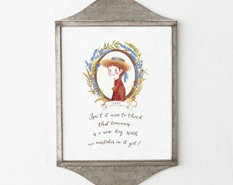 Anne of Green Gables Quote/ Watercolor Quote Art/ Motivational Quote/ Tomorrow is a New Day/Anne Shirley/Megan Follows, Custom Portrait