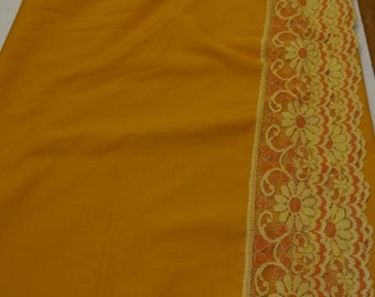 """orange floral laced edged 4' x 55"""" tablecloth"""