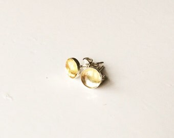 925 sterling silver citrine Stud Earrings/ear studs