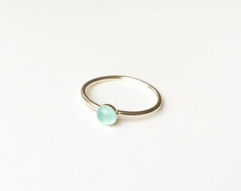 Light aqua blue chalcedony 925 sterling silver ring