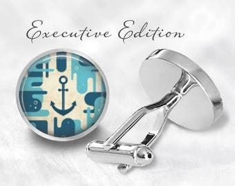 Anchor Cufflinks - Nautical Anchor Cuff Links - Blue Anchor Cufflink - Boat Cufflinks (Pair) Lifetime Guarentee (S0859)