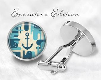 Anchor Cufflinks - Nautical Anchor Cuff Links - Blue Anchor Cufflink - Boat Cufflinks (Pair) Lifetime Guarentee (S0859)