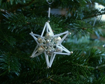 Vintage Christmas glass star ornament bugle beads.Glass silver white.Christmas tree ornament.Holiday decor.Vintage Christmas