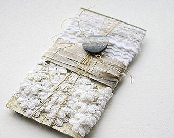 Vintage white lace on book tag.Vintage silk ribbon.Vintage book tag green cream.Vintage button.Vintage supply.Vintage gold thread