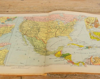 Vintage atlas geographical book.School atlas maps color.Wall collage pages supply.Nursery wall decor.World America Europe.Gift teacher