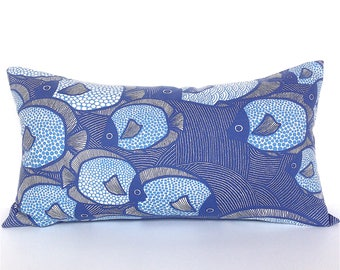 Decorative Blue Fish Pillow Cover. Scandinavian Fish Pillow. Fish Decor. Fishing Gift. Holiday House Fish Pillow.  Blue Accent Pillow.