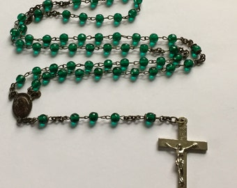 "Vintage Rosary, Rosary Beads, Emerald Green Glass Rosary, 5 Decades, Silver Tone Crucifix, Vintage Prayer Beads, Catholic Beads, 16"" Long"