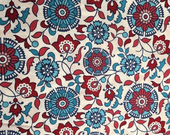 Chennai Medallion Floral Red and Blue Fabric, End of Bolt 1 Yard 18 inches