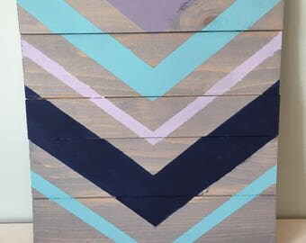 Purple, Blue, and Gray Chevron Wood Sign, 9x11 in.