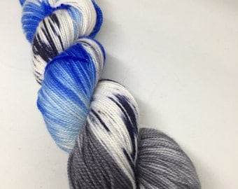 Sock yarn hand dyed for socks, shawls and more, indie yarn in blues and silvers, fingering yarn