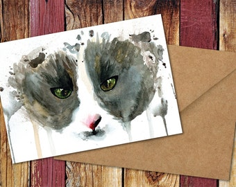 Molly Cat Watercolour Greetings Card - Birthday, Christmas, Any Occasion