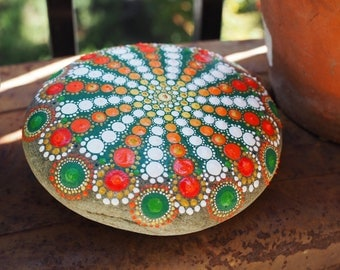 Spring Bloom-Orange-Hand Painted River Stone