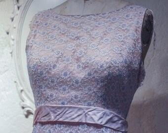 Vintage Pink Lace Floral Dress w/ Ribbon