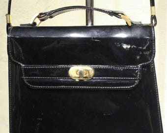 Vintage Black Patent Leather Shoulder Bag with Gold Clasp
