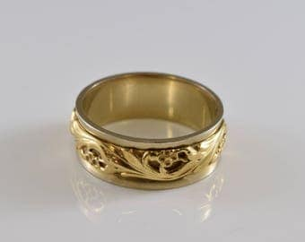 14K Yellow and White Gold Floral Band Ring Size 10
