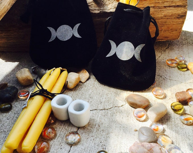 Pure Beeswax Chime Candles-taper candles-hand dipped ritual candle-altar candles-100% Pure Beeswax Candles w/holders-wiccan candles