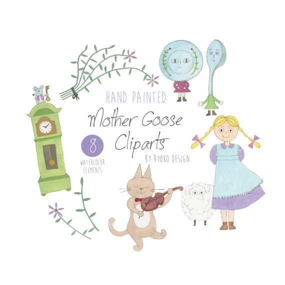 Knitting Rhyme Words : Watercolor clip art mother goose nursery rhyme
