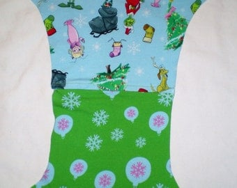 Grinch Christmas Cindy Lou Who Semi Custom Cloth Diaper Cover Pocket Ai2 AiO Hybrid Fitted Little Lotus Buds One Size