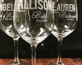 Bridesmaid Gift, 9 Personalized Wine Glasses, Toasting Glass, Custom Etched, Bridal Party Favors, Huge Wine Glasses, Custom Engraved Glasses