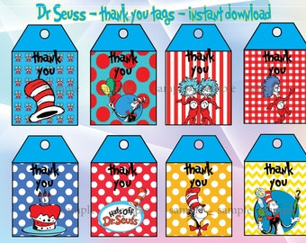 INSTANT DOWNLOAD-Dr Seuss thank you tags.   Dr. Seuss, Cat in the Hat, Dr. Seuss party, Dr Suess birthday