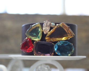 Gem Buckle Leather Cuff