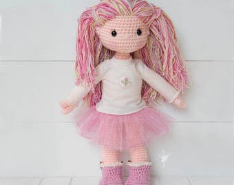 Molly Dolly Amigurumi Doll 18in Plush Toy Soft Toy Doll Crochet Doll My First Doll with Tutu