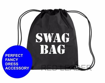 SWAG BAG Printed Gymsac Bag Black Funny Thief Burglar Fancy Dress Costume Hen Party