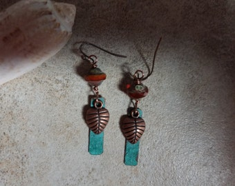 24 Copper charm and Czech glass dangle earrings, rustic, boho, artisan