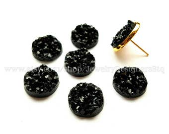 12mm Jet Black Faux Druzy Resin Drusy Cabochons Kawaii Cabochon Golden Jewelry Findings Crafting Supplies DIY Earring Necklace Bracelet