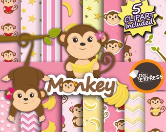 """Monkey Girl Digital Paper + Clipart : """"Pink Monkey Digital Paper"""" - Animal Clipart, Cute Monkey Party Invite, Commercial Use, Scrapbook"""