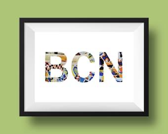 BARCELONA Spain Park Guell Photography Cutout Letters Minimalist Word Art Wall Home Decor