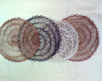 Mat-Doily, Set of 6, Large Round, 9 inch Approx., Handmade, Abaca Fiber, Choice of Colors, Vintage