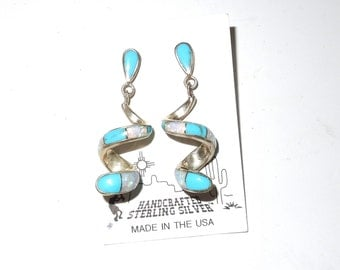 "Handcrafted Sterling Silver Turquoise ""Snake"" Pierced Earrings"
