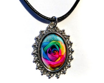 Colorful Rainbow Rose Flower Necklace