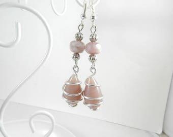 Earrings silver pink ears, earrings silver hanging ears, designer jewelry, hand made jewelry, handmade