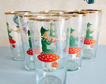 Gorgeous Set of 6 1950s/60s Pixie on a Toadstool Tumblers/Small Drinking Glasses