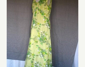 On Sale 1970's Empire Waist Chiffon and Satin Full Length Dress Sleeveless Green Floral Print