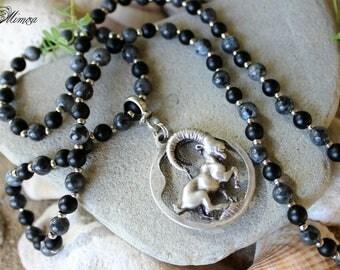 3D Capricorn Necklace, Capricorn Beaded Necklace, Zodiac Necklace, Birthstone Necklace, Labradorite Necklace, Matte Onyx Necklace, Capricorn
