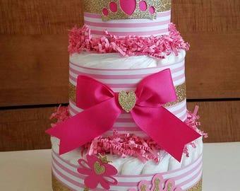 Princess Diaper Cake, Pink Diaper Cake, Tiara Diaper Cake, Little Princess Baby Shower, Pink and Gold Diaper Cake, Royalty Baby Shower