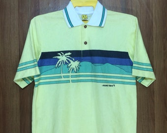 70s Vintage HANG TEN Hawaii Polo Shirt Surfing Beach Polyester Cotton Material Adult Large Size