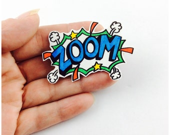 Comic words. Superhero words. Cartoon words. Sound effects. Pin badge. Space pin. Cute pins. Shrink plastic. Party favor. Space gifts.
