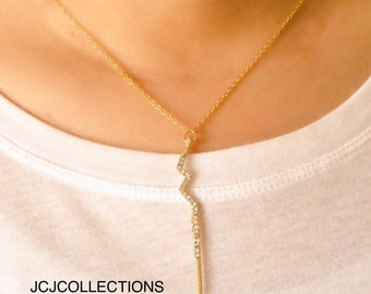Lightning Bold Pave Pendant Necklace