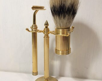 Gold Metal Shaving Stand - Shaving Brush and Razor - Bathroom Decor - Mens - Mantique