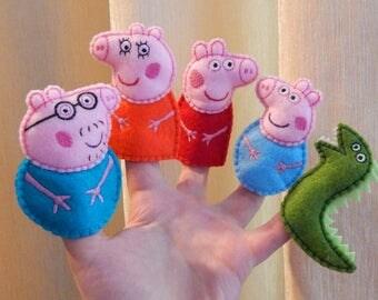 Peppa pig family finger puppets. (+Gift) Felt finger puppets. Finger family. Animal finger puppets. Felt Peppa pig toys.