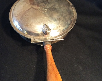 """1940's-50's Silent Butler Silver Plate Sheffield Silver Co USA, Stylized Horse Etched Lid, 10-3/4"""" L X 6-1/4"""" W X 3-1/2"""" H, Walnut Handle"""