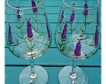 Hand Painted Wine Glasses, White Wine, Lavender And Bees, Floral Design, New Home Gift, Anniversary Gift,  Wedding Gift, Birthday Gift.