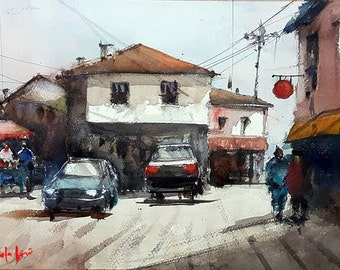 The Old Town Merchants Original Watercolor Painting
